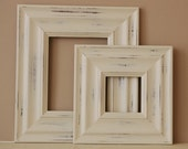 Sizes 4x4 to 8x8 Wood Picture Frame / Vintage White or Blue / Madera Style