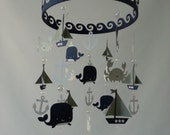 Baby Mobile Sailboat Ocean Creature Sea Baby Mobile Navy Gray and White