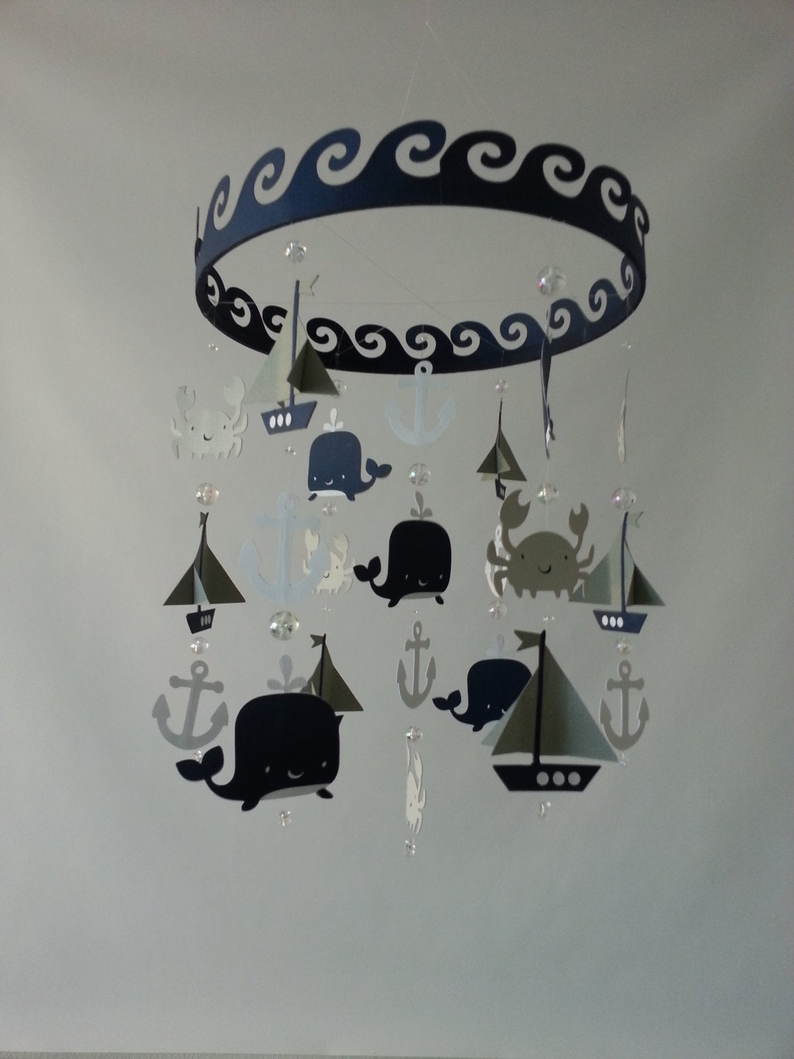 Baby mobile sailboat ocean creature sea baby mobile navy gray for Sea animal baby mobile