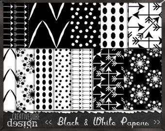 Digital paper, Digital Scrapbook paper pack - Instant download - 12 Digital Papers - Black and white