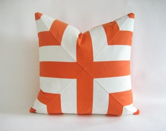 Pillow Cover Mitered Cross Orange & White Stripes Indoor Outdoor