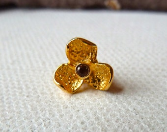 24k Gold Vermeil Amethyst Gemstone Bead  -  9mm  -  Raised 3 Petal Flower - Intricate Unique Detail -  High Quality