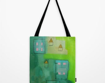 Green Tote Bag Abstract Artwork Printed on Tote Bag Unique Tote Bag Colorful Tote Nature