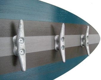"28"" Teal Surfboard Coat Rack with Dock Cleat Hooks"