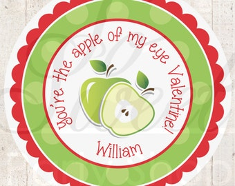 24 Apple Valentine's Day Stickers - Valentine's Day Party Decorations - Boy or Girl Valentine Stickers