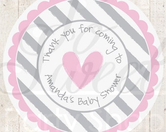 Girls Baby Shower Stickers, Baby Shower Favors, Baby Shower Decorations, Heart and Stripe Pink and Gray - Set of 24