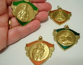 Rosary necklace medals - Lot of 4 religious pendants - cheesegrits