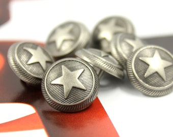 Metal Buttons - Roped Star Metal Buttons , Nickel Silver Color , Shank , 0.59 inch , 10 pcs