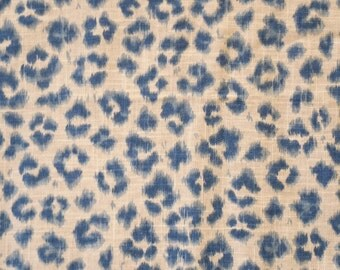 CHEETAH Print  Linen dark blue on tan, designer multipurpose fabric