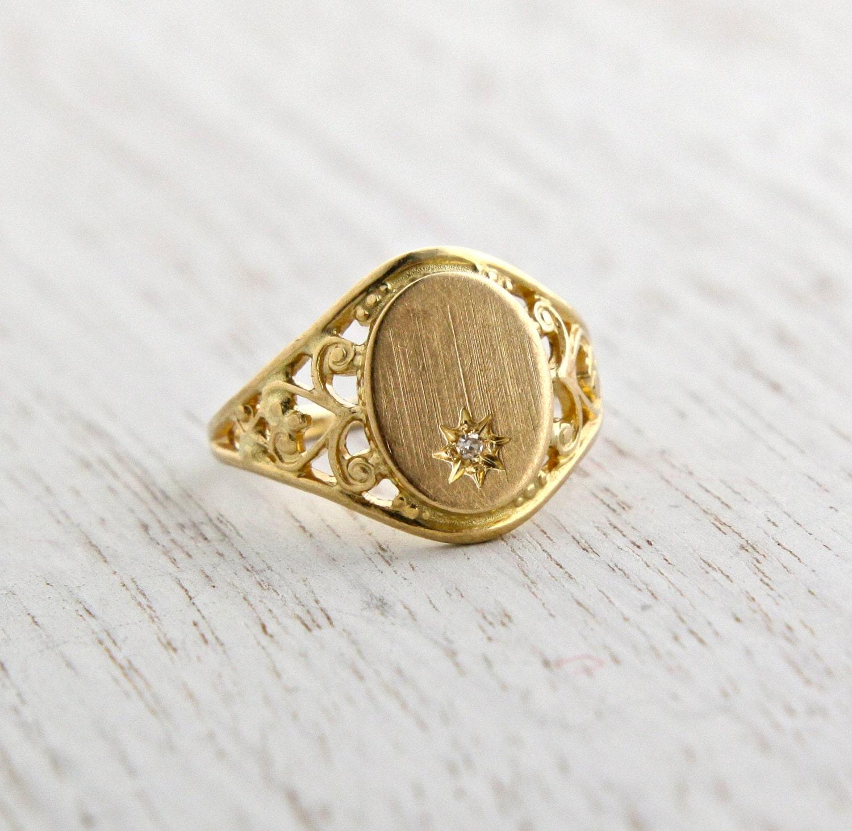 sale vintage 10k yellow gold signet ring