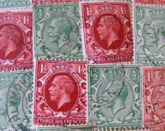 30 Vintage Postage Stamps 1910s King George V Great Britain England GB UK Emperor King George Frederick Ernest Albert Philately Royal Heads