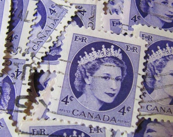 Lovely Ladies of Luxury 50 Vintage 1950s Canadian Postage Stamps Purple Violet Royal Heads Queen Elizabeth II Portrait Crown Scrapbooking