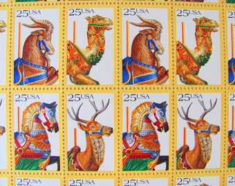 Carousel Animals UNused Vintage US Postage Stamps Full Sheet of 50 25 cents 1988 Horse Horns Camel Valentine's Save the Date Wedding Postage
