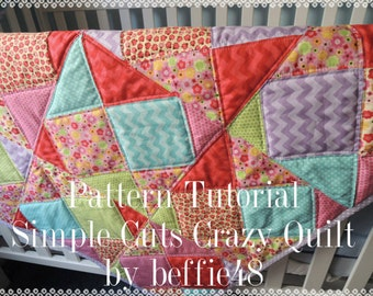 Simple Cuts Crazy Quilt Pattern Tutorial with photos,  pdf, Instant Download