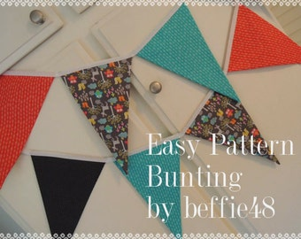 PATTERN, EASY, Bunting, Banner, Garland, Pattern Tutorial, pdf, Instant Download