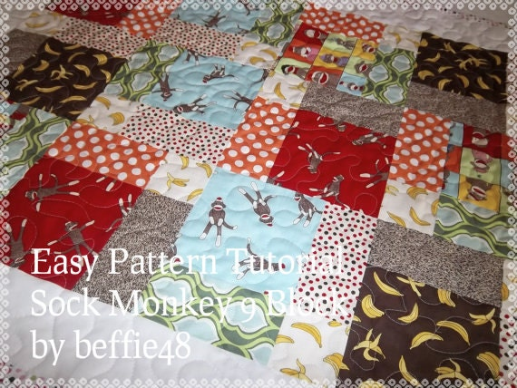 Sock Monkey Magic 9 Block Baby Quilt Pattern Tutorial pdf : monkey quilt pattern - Adamdwight.com
