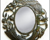 "Metal Mirror Wall Hanging, Woman & Birds, Handcrafted Metal Mirrors, Home Decor - 17"", Hammered Haitian Recycled Steel Drum Art - J-103-M-18"