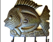 Metal Towel Hook - Fish Metal Wall Hook - Handcrafted Bathroom Decor - Fish Metal Art - Haitian Recycled Steel Drum Wall Decor -2002-HK-L