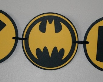 Batman DEAL Black and Yellow Happy Birthday Banner centerpiece Package