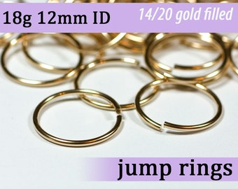 18g 12.0mm ID gold filled jump rings -- goldfill jumprings 18g12.00 links
