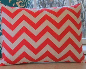 SALE 12 x 18 Lumbar Pillow Cover Coral  Zigzag Chevron