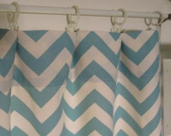Window Curtain- Premier Prints  Zigzag Chevron Pair 25 x 84 Village Blue