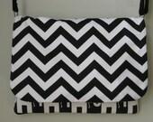 Black White Chevron Laptop Bag 16 Inch Messenger Elephants Cotton Canvas Handmade