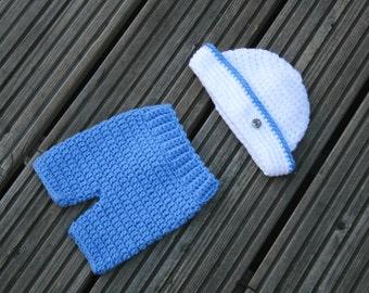 Newborn Sailor Hat and Shorts,Little Sailor Hat Pants Set,Baby Sailor Set,Photo Prop,Anchors Away,Nautical Hat.Newborn,MADE TO ORDER