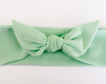 Mint Green Jersey Knit Knotted Bow Headband/Headwrap Baby Toddler Child Adult