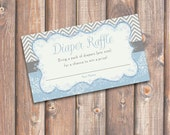 Chevron Snowflakes Blue and Gray - Baby Shower Diaper Raffle Tickets - INSTANT DOWNLOAD