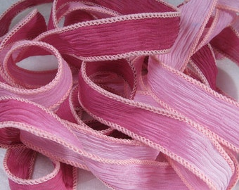 Hand Dyed Silk Ribbon - Crinkle Hand Painted Silk Jewelry Bracelet  - Quintessence - Pink Passion