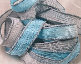 Hand Dyed Silk Ribbons - Crinkle Silk Jewelry Bracelet Fairy Ribbon - Blue gray - Quintessence - East Coast