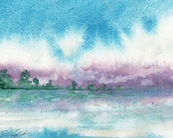 Purple Haze, Watercolor Print, Seascape, Turquoise, Clouds, Coast , Purple