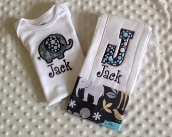 Baby Boy  2 Piece Gift Set, Personalized Onesie and Burp Cloth,