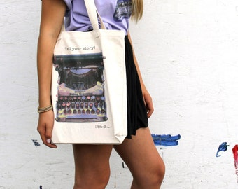 """Typewriter Art - Cotton Tote bag - """"Tell your story!"""""""