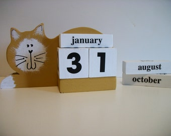 Cat Calendar Perpetual Wood Block Yellow Gold Cat Decor