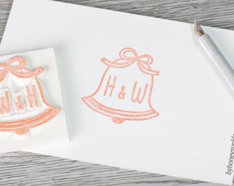 customized stamp, custom stamp, wedding bell stamp, initial rubber stamp, custom initial stamp, church wedding custom stamp, wedding diy,