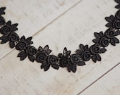 3cm black floral venise lace trim or applique
