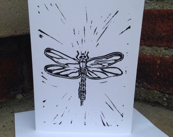 Linocut Card of a Dragonfly