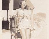 Girl on a Chair - Vintage Photograph, Vernacular, Ephemera  (XX)