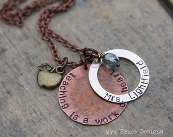 Teacher necklace - mixed metal - teaching is a work of heart - with personalized sterling washer and apple in bronze or silver