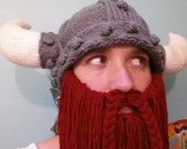 Knitted Viking Helmet with Detachable Beard