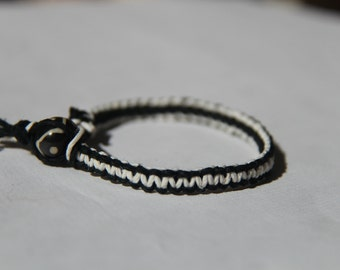 Black and White Hemp Bracelet
