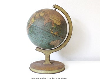 "1930s Beautiful Antique Metal Globe by J. Chein & Co. Burlington, N.J./ 5"" metal globe"