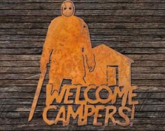 Jason Voorhees Welcome Campers Screw Mount Sign