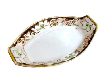 Antique Nippon China Salt Dish with Gold Trim 100 Years Old