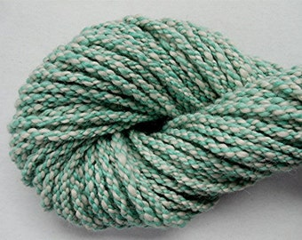 "Super Bulky Handspun Art Yarn Hand Dyed Alpaca and Wool 66 Yards Robin Egg Blue Pastel Doll Hair Knitting "" Aqua Cable ""  (2 skeins avail.)"