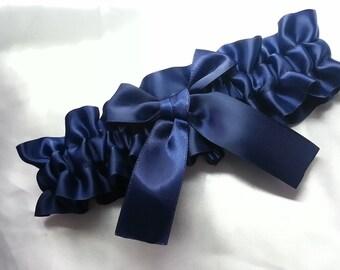 Wedding Garter SINGLE or SET , beautiful  navy  garter