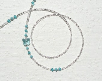 Butterfly Eyeglass Chain, Turquoise Butterfly Eyeglass Necklace, Blue Butterfly Lanyard, Butterfly Swarovski Crystal Glasses Chain Silver
