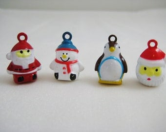 Holiday Collection - 4 Pieces - 1 Standing Santa, 1 Snowman, 1 Penguin, 1 Santa Animal Jingle Bell Charms